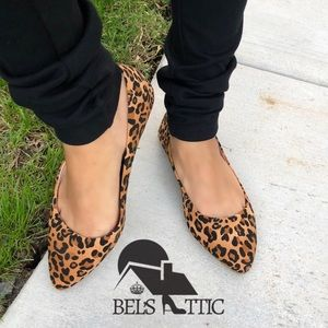 Shoes - Leopard animal Print Flats  Slip On Loafers